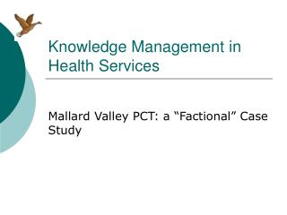 Knowledge Management in Health Services