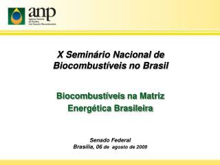 X Seminário Nacional de  Biocombustíveis  no Brasil Biocombustíveis  na Matriz
