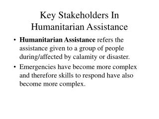 Key Stakeholders In Humanitarian Assistance