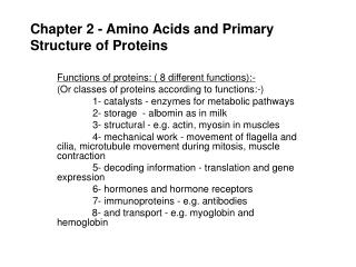 Chapter 2 - Amino Acids and Primary Structure of Proteins
