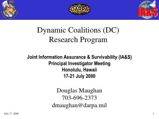Dynamic Coalitions (DC) Research Program