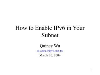 How to Enable IPv6 in Your Subnet