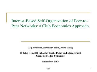 Interest-Based Self-Organization of Peer-to-Peer Networks: a Club Economics Approach