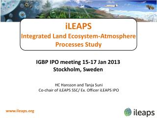 iLEAPS Integrated Land Ecosystem-Atmosphere  Processes Study