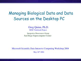 Managing Biological Data and Data