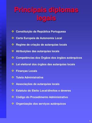 Principais diplomas legais