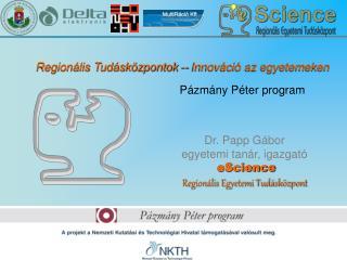 Dr. Papp Gábor egyetemi tanár, igazgató eScience Regionális Egyetemi Tudásközpont