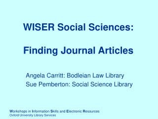 WISER Social Sciences:  Finding Journal Articles