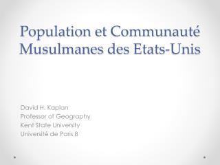 Population et  Communauté Musulmanes  des  Etats-Unis
