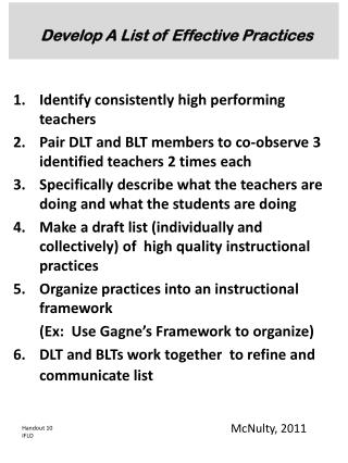 Develop A List of Effective Practices