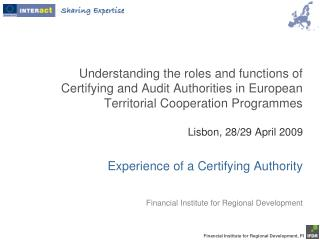 IFDR - Financial Institute for Regional Development IFDR - Certifying Authority