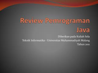 Review  Pemrograman  Java