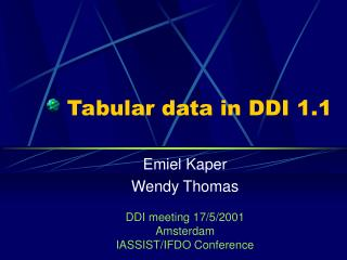 Tabular data in DDI 1.1