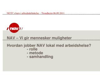 NETF's kurs i arbeidsdeltakelse – Trondheim 06.09.2011