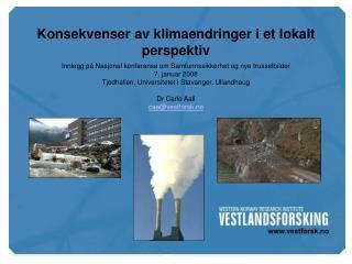 Konsekvenser av klimaendringer i et lokalt perspektiv