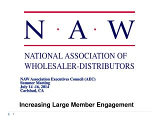 NAW Association Executives Council (AEC) Summer Meeting  July 14 -16, 2014 Carlsbad, CA