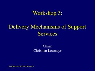 Workshop 3:  Delivery Mechanisms of Support Services Chair: Christian Lettmayr