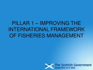 PILLAR 1 – IMPROVING THE INTERNATIONAL FRAMEWORK OF FISHERIES MANAGEMENT