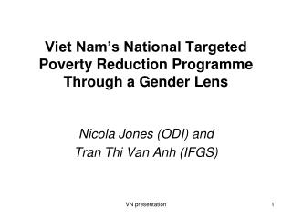 Viet Nam's National Targeted Poverty Reduction Programme Through a Gender Lens