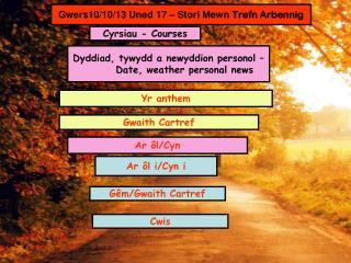 Gwers10/10/13 Uned 17 – Stori Mewn  Trefn Arbennig