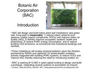 Botanic Air Corporation (BAC) Introduction