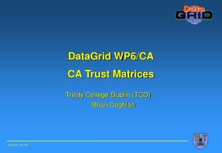 DataGrid  WP 6/CA CA Trust Matrices