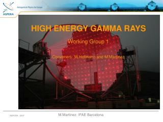 HIGH ENERGY GAMMA RAYS Working Group 1 Conveners: W.Hofmann and M.Martinez