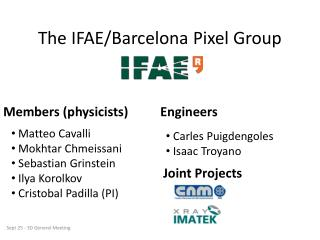 The IFAE/Barcelona Pixel Group