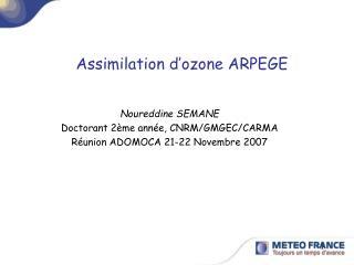 Assimilation d'ozone ARPEGE