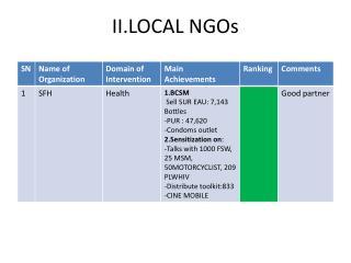 II.LOCAL NGOs