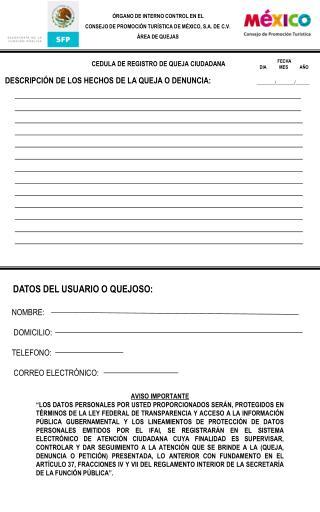 ÓRGANO DE INTERNO CONTROL EN EL CONSEJO DE PROMOCIÓN TURÍSTICA DE MÉXICO, S.A. DE C.V.