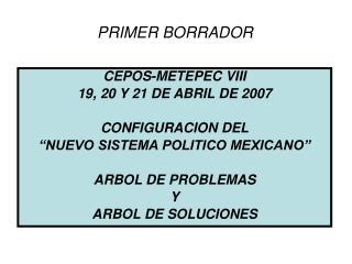 CEPOS-METEPEC VIII 19, 20 Y 21 DE ABRIL DE 2007 CONFIGURACION DEL