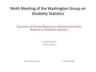 Ninth Meeting of the Washington Group on Disability Statistics