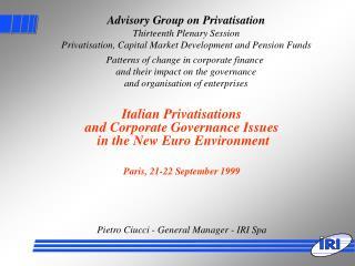 Advisory Group on Privatisation Thirteenth Plenary Session