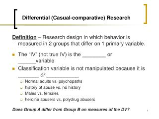 Differential (Casual-comparative) Research
