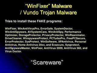 """WinFixer"" Malware / Vundo Trojan Malware"