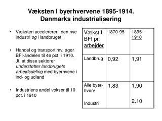 Væksten I byerhvervene 1895-1914.  Danmarks industrialisering