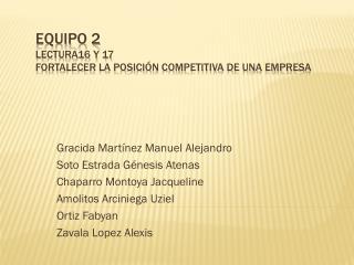 Equipo 2  Lectura16 y 17  fortalecer la posición competitiva de una empresa