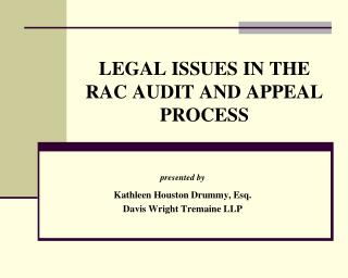 LEGAL ISSUES IN THE RAC AUDIT AND APPEAL PROCESS