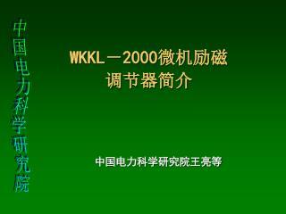 WKKL - 2000 微机励磁 调节器简介