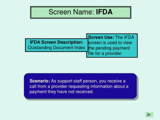 Screen Name:  IFDA