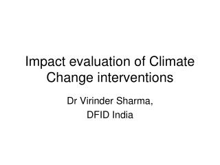 Impact evaluation of Climate Change interventions