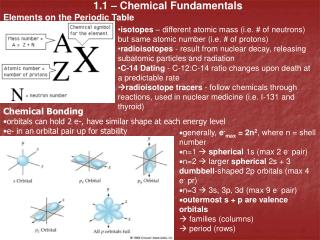 1.1 – Chemical Fundamentals Elements on the Periodic Table