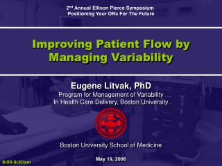 Improving Patient Flow by Managing Variability