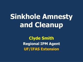 Sinkhole Amnesty and Cleanup