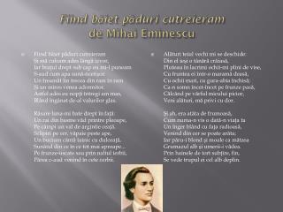 Fiind  b ă iet  p ă duri cutreieram de Mihai Eminescu