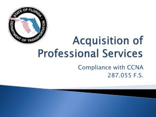 Acquisition of Professional Services