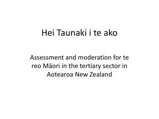 Hei Taunaki i te ako