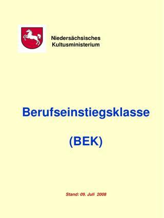 Berufseinstiegsklasse  (BEK) Stand: 09. Juli  2008