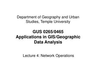 Lecture 4: Network Operations